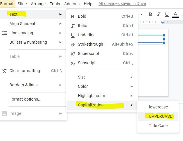 How to change text to all caps/UPPERCASE in Google slides